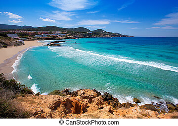Cala Tarida in Ibiza beach at Balearic Islands - Cala Tarida...