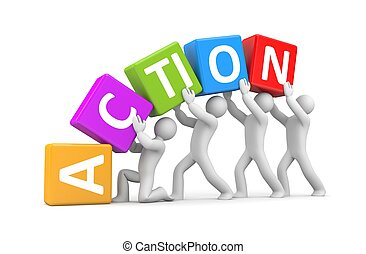 Action metaphor - People in action metaphor Isolated on...