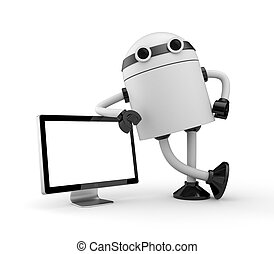 Robot leaning on monitor - Electronics and technologies...