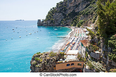 Beach of Positano, Costiera Amalfitana, Italy - View of a...