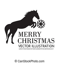 Black horse christmas background