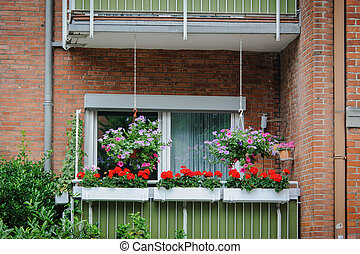 Balcony with flowers in Europe