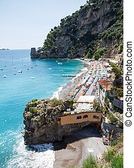 Positano beach, Costiera Amalfitana, Italy - Panoramic view...