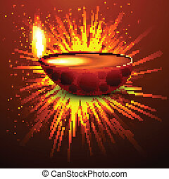 Diwali diya holiday background colorful vector illustration