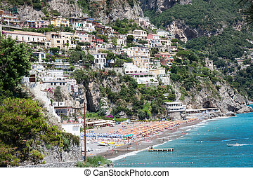 Positano beach, Amalfi Coast, Italy - Panoramic view of...