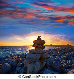Ibiza Cap des Falco beach sunset with desire stones - Ibiza...