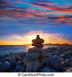 Ibiza Cap des Falco beach sunset with desire stones - Ibiza...