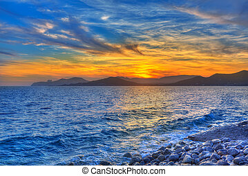 Ibiza Cap des Falco beach sunset Es Vedra in San Jose -...