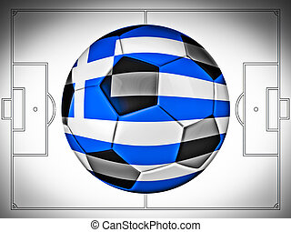 Soccer football with Greece flag illustration, Concept