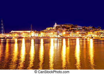 Eivissa Ibiza town downtown at sunset in Balearic - Eivissa...