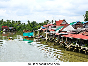 View on Bangnoi Floating Market , Thailand.