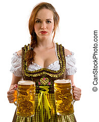 Beautiful Oktoberfest server serving beer - Photo of a...