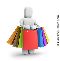3d small person with lot of shopping bags - Time to shopping...