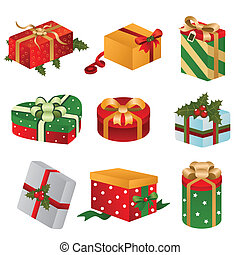 Different designs of Christmas present boxes - A vector...