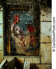 Angry zombie at the window - Photo of a hungry zombie...
