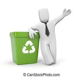 Businessman with recycling bin - Business concept. Isolated...