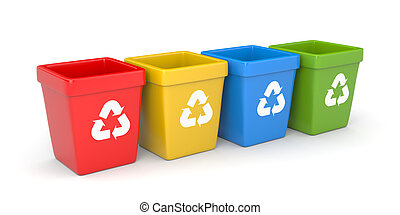 Colored recycling bins 3d illustration