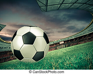Soccer football with South Africa flag illustration, Concept