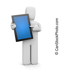 Person with tablet computer - Business concept Isolated on...