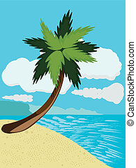 Cartoon beach with palm