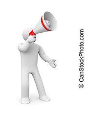 Man speaks in megaphone - People at work metaphor Isolated...