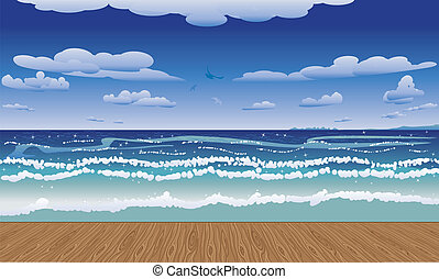 Jetty and sea - View from a jetty at the tropical sea and...