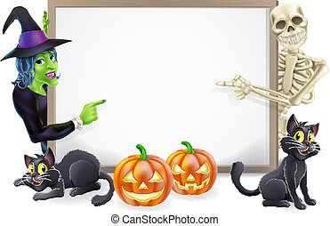 Halloween Sign with Skeleton and Witch - Halloween sign or...
