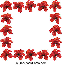 Red hibiscus frame - Floral frame made from red hibiscus...
