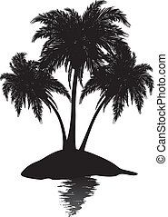 Small island silhouette - Silhouette of a tropic island with...