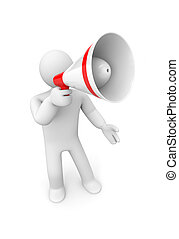 Man speaks in megaphone - Communication concept Isolated on...