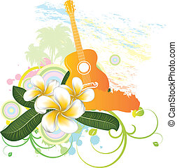 Tropical background with guitar - Abstract tropical...