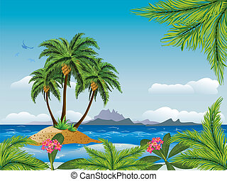 Tropical island in the ocean - A tropical island with palm...