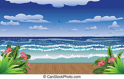Tropical sea and jetty - View from a jetty at the tropical...