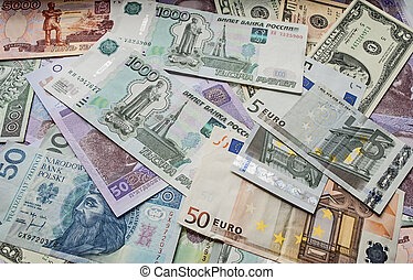 Dollar, euro, Polish zloty money, Ukrainian money, money...