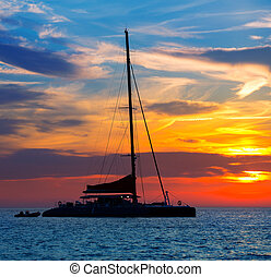 ibiza, San, Antonio, Abad, catamaran, Sailboat, pôr do...