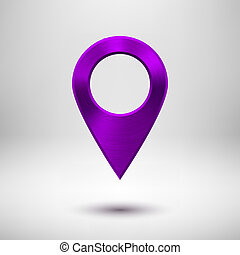 Technology Map Pointer Button with Purple Metal Texture