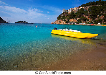 ibiza Port de Sant Miquel San Miguel beach in Balearic islands
