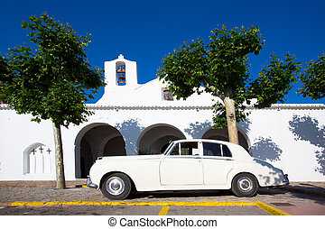Ibiza Sant Carles de Peralta white church in Balearic...