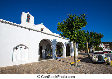 Ibiza Sant Carles de Peralta white church in Balearic...