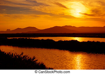 Ibiza ses Salines saltworks at sunset in Sant Josep at...