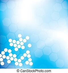 Abstract Hexagon Background - Blue, modern background with...