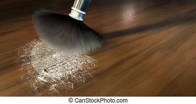 Dusting For Fingerprints On Wood - A crime scene brush...
