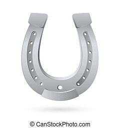 Horseshoe - Silver horseshoe Illustration on white...