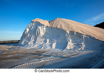 Ibiza ses Salines saltworks white salt mountain in Sant...