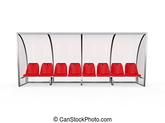 Soccer Player Bench isolated on white background. 3D render