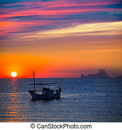 Ibiza sunset Es Vedra view and fisherboat formentera - Ibiza...