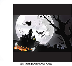 Spooky House at Halloweens night Vector illustration