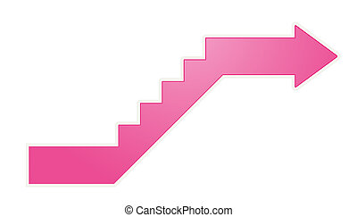 upstairs arrow - Glossy pink stylized stairs with arrow at...