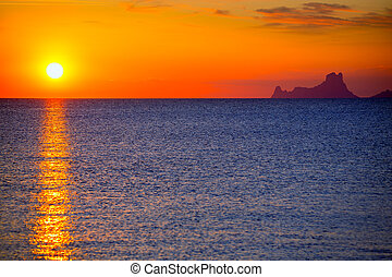 Ibiza sunset Es Vedra view from Formentera la Savina red...