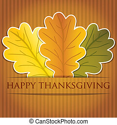 Happy Thanksgiving - Acorn leaves Thanksgiving card in...